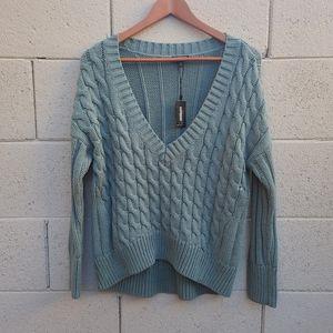 Express   V Neck Chunky Knit Sweater Sage NEW S